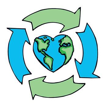 Earth recycling love heart image